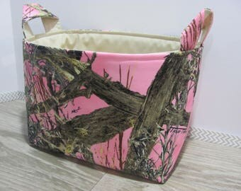 SALE LARGE Fabric Organizer Basket Storage Container Bin Bucket Bag Diaper Holder Home Decor- Size Large - camo pink - RTS