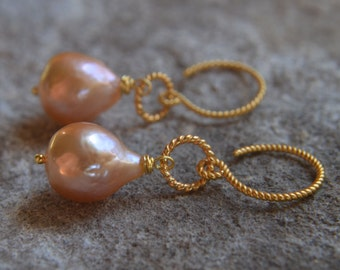 Edison Flameball Pearl Earrings Baroque Pearl Earrings