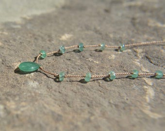 Emerald Knotted Silk Necklace