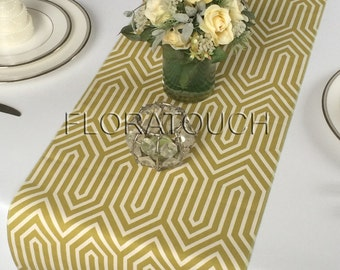 Trail Village Green and Natural Damask Table Runner Wedding Table Runner