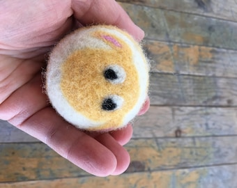 Yellow Sheep or Lamb, Felted Wool Toy Ball or Sculpture , Mini