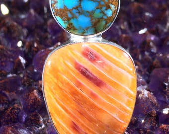 Turquoise and Spiny Oyster Ring