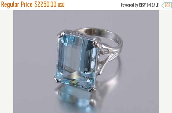 Holiday Sale MASSIVE vintage 14k white gold 18.20 ct aquamarine solitaire statement cocktail ring, size 7.5 signed Chalson, Osborne Co.