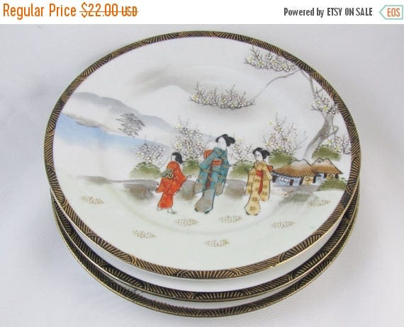"SPRING CLEANING SALE Set of 3 vintage hand painted Ardalt Occupied Japan decorative 7-1/2"" plates / 6078 / porcelain / china / bone china /"