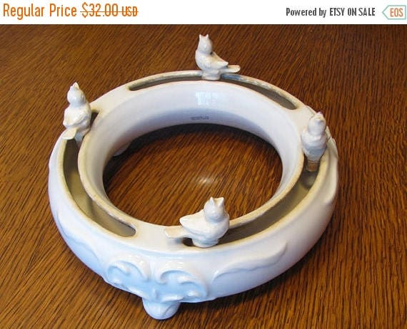 SPRING CLEANING SALE Vintage E&R Golden Crown Austria / Ebeling and Reuss porcelain flower frog planter / circular / wreath / ring planter /