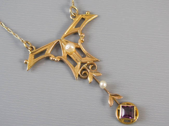 Antique Edwardian 14k gold amethyst seed pearl lavalier pendant necklace