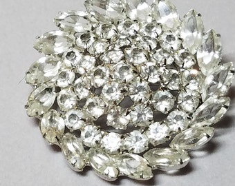 Sterling Gorgeous Vintage Clear Rhinestone Brooch Pin