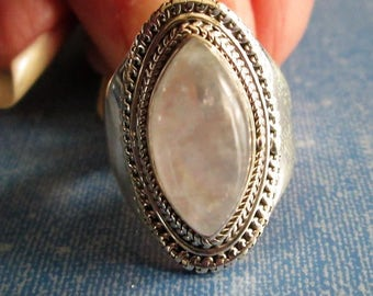 RING - ORNATE - MOONSTONE - Marquise  -  925 - Sterling Silver  - size 7 1/4 -    moonstone429