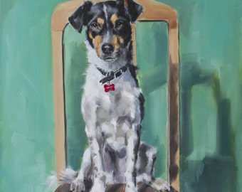 Black and White Terrier Sitting on Brown Chair, Green Background, Original Painting by Clair Hartmann
