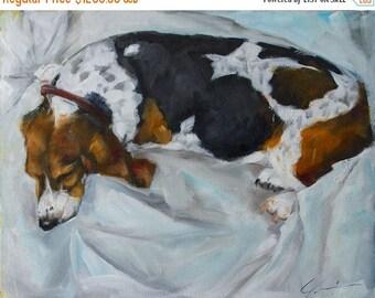 STUDIO SALE Sleeping Basset Hound on White Background Large Original Painting by Clair Hartmann