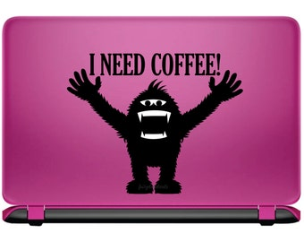 Coffee Decal, I need coffee, coffee monster mug decal, yeti, bigfoot, sawsquatch decal, vinyl laptop sticker decal, monster vinyl decal, new
