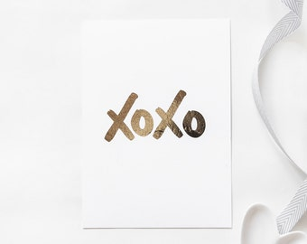 Gold Foil Print // XOXO // Wall Print, Gallery Wall, Desk Accessories
