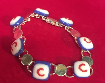 Custom Order - Chicago Cubs Bracelet Jewelry - Fused Glass