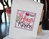 Hugs and Kisses Postage Stamp Embroidered Kitchen Towel