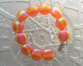 Rainbow Bracelet - Orange - Dichroic Glass - Dichroic Fused Glass Bracelet - Fused Glass - Charm Bracelet - Glass Jewelry - Bangle X3485