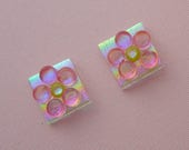 Pink Flower Earrings - Beach Earrings - Dichroic Earrings - Dichroic Fused Glass Earrings - Stud Earrings - Post Earrings - Small Stud 1258