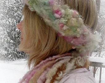 rustic hand knit winter wool headband -  winter enchantment rose crown