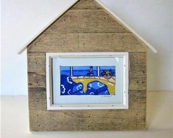 "Acrylic framed Beach Painting on canvas, wooden house shaped frame, sailboat, nautical art, 11"" x 11"", shabby beach cottage wall decor, gift"