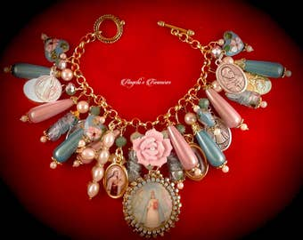 Vintage and New Catholic Virgin Mary Our Lady of Aparecida Religious Medals Handmade Charm Bracelet
