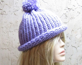 Lavender Adult Hand Knit  Ready to Ship