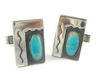 Vintage Turquoise Sterling Silver Wave Cuff Links