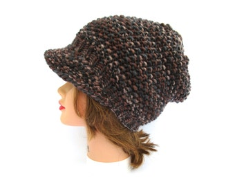 Smoked Topaz Cap - Knit Newsboy Hat - Women's Hat with Brim - Brimmed Beanie - Chunky Hat - Slouchy Visor Beanie - Knit Accessories
