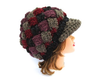 Knit Entrelac Cap - Brimmed Beanie - Hat With Brim - Multicolor Hat - Women's Newsboy Hat - Chunky Beanie - Knit Accessories