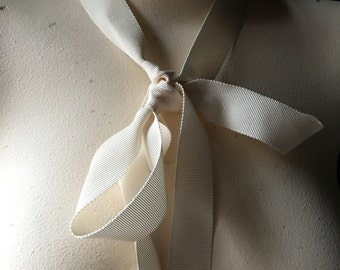 5 yds. IVORY Ribbon Grosgrain  24mm for Bouquets,  Millinery, Invitations