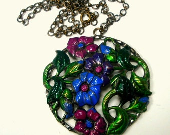 Handpainted Flower Pendant w Chain, Altered Vintage Necklace by R Starr OOAK,  Flower Power but Traditional