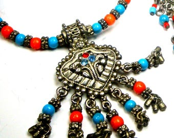 Petite Tribal Pendant Necklace and Post Dangle Earrings, Silver Turquoise Coral Colors, Indian Princess, 1980s Traditional Eastern Exotic