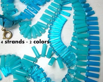 Turquoise Fringed Necklace, 4  Long MOD Strands of Fluffy Aqua n Turq Transparent & Opaque Plastic Necklace, 1960s