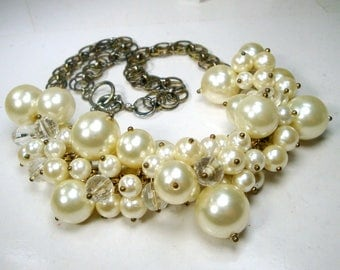 Pearl Crystal Bead Charm BIB Necklace, on a Chain, Adjustable Drama, Glam Fancy Fun, White Luminosity..Prom Anyone..