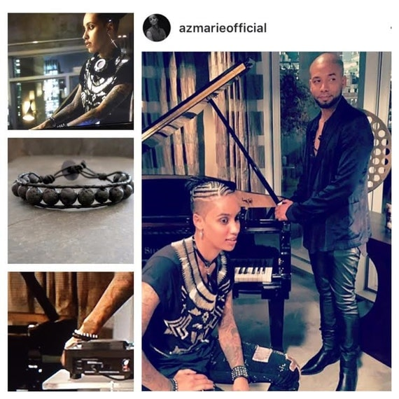 Leather Beaded  Bracelet Actress  Azmarie Livingstone from Empire Wearing   Black Lava Stone  Unisex For Him or Her  Edgy Diffuser  Jewelry