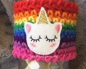 MADE TO ORDER Sleepy Unicorn Cup Cozy- you pick your colors!