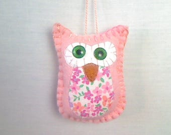X-Small Felt Pink Owl Ornament | Spring Decor | Holidays | Valentines Day | Bowl Filler | Tree Ornament | Handmade | Party Favor | #4