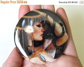 Cyber Monday sale Cleopatra Pocket Mirror Made From Original Art with Organza Bag 2 1/4 inches