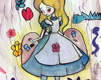 "ACEO/ATC - ""Alice in Wonderland "" - Artists Trading Card Premium Fine Art Mini Print 2.5x3.5 - Mommy and me illustration"