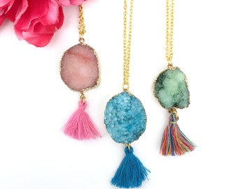 womens gift - statement necklace - druzy stone pendant with tassel - raw gemstone necklace - agate druzy jewelry - gold dipped druzy stone