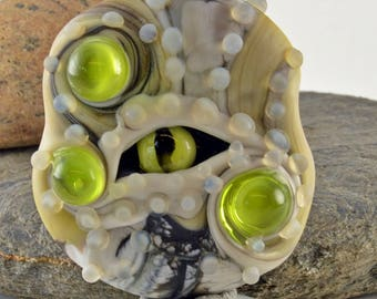 GREEN EYE glass sculpture  lampwork glass bead, whimisical lampwork focal bead, Izzybeads SRA