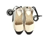 Espadrille Sandals. Lace up Chanel Style Espadrilles in Cream and Black. Summer Leather and Fabric Shoes. Women's Sandals. Greek Sandals.