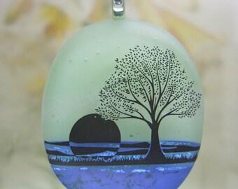 Blue Lake Pendant, Fused Glass Jewelry Handmade in North Carolina