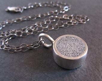 Sterling silver and concrete mini circle pendant / concrete pendant / minimalist jewelry / modern jewelry / concrete jewelry / gift for her