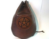 Taller Brown leather Pentacle runes coin dice pouch bag  Medieval Celtic