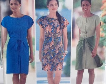 Fast & Easy Semi-fitted Dress, Butterick 5438 Sewing Pattern, Short Sleeve Dress with Sarong Style Overskirt, Easy to Sew Size 6 - 12 UNCUT