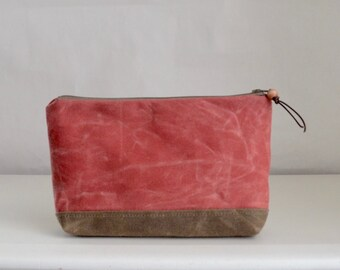 Red Waxed Canvas Wide Padded Zipper Pouch Gadget Case Cosmetics Bag - READY TO SHIP