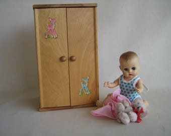 Vintage Doll Furniture- Strombecker Wardrobe # 146- With Nursery Rhyme Decals -For 8 to 10 Inch Dolls in Play Scale
