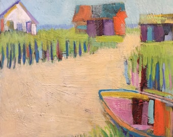 """Welfleet Weekend - Original Acrylic Oil Encaustic Landscape Painting - 18""""x 18"""""""