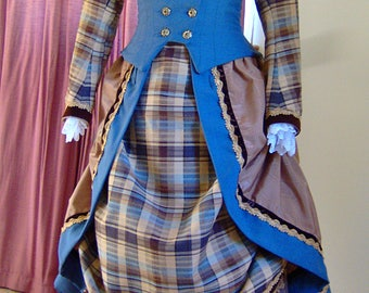 1800s Victorian Bustle Dress - 1880s 1870s Day Gown - Blue Wool - Plaid Cotton - Brown Beige Gold - Theater Picnic Tea SASS Old Wild West