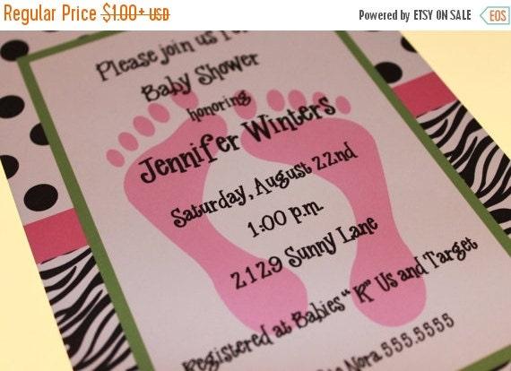 ON SALE Zebra Print Baby Shower Invitations for Girl or Boy