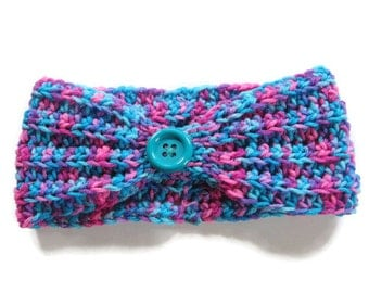 Ready To Ship - Ladies' Aqua Ear Warmer - Women's Turquoise & Pink Ear Warmer - Crocheted Ear Warmer - Crochet Turquoise Pink  Headband